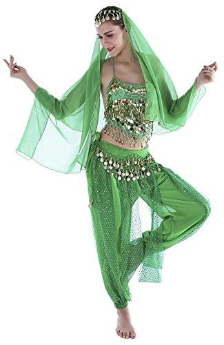 Orient Kostüm Damen Bauchtanz Kostüm Damen Grün Faschingskostüm Chiffon