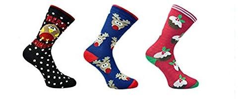 3x Paar mit Herren oder Damen Weihnachten Neuheit Design Socken Fantastisch Geschenkidee - Damen, Herren Eur 39-45 Damen Eur 37-42