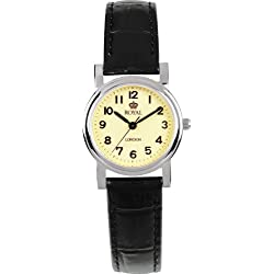 Royal London Women's Quartz Watch with Beige Dial Analogue Display and Black Leather Strap 20000-03