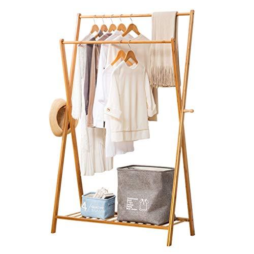 Hongbanlemp Bambus Kleiderbügel tragbare große mittlere und kleine Kleiderbügel Aufbewahrungsbox und Schlafzimmer Design (Log Farbe) (Größe : M)