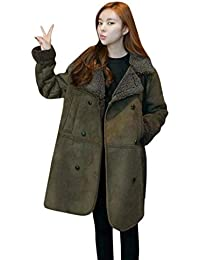 d7a56348832b Laisla fashion Mäntel Damen Lang Winter Vintage Wildleder Jacke Langarm  Revers Verdicken Warme Classic Mode Locker