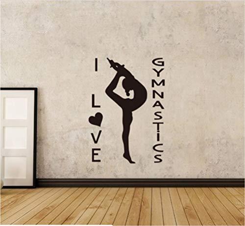 HLLCY Yoga Mädchen Wandaufkleber Gymnastik Leichtathletik Wandbild Mädchen Raumdekor Gymnastik Mädchen Abnehmbare PVC Wandkunst Poster 57X79Cm