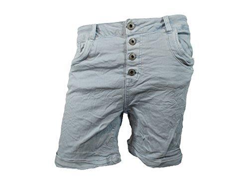 Denim-stretch-shorts (Denim Krempel Boyfriend baggy Stretch Shorts Bermuda Knöpfe offene Knopfleiste (Weitere Farben) (M-38, Ocean Blue))