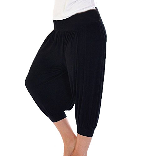 Damen Trikot elastische Taille 3/4 Harem Hosen Schwarz