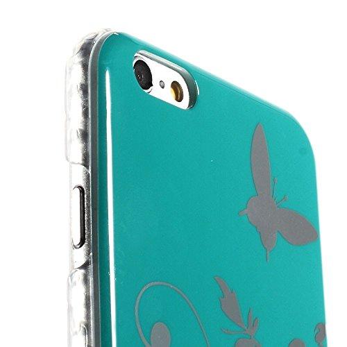 """[A4E] Handyhülle passend für Apple iPhone 6 (4,7"""") Hartschale, Design mit Blume und Schmetterling Muster (türkis, silber) Schmetterling - türkis"""