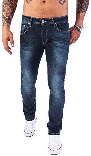 Rock Creek Designer Herren Jeans Hose Stretch Jeanshose Basic Slim Fit [RC-2118 - Night Blue - W34 L36]