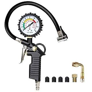 URAQT Luftdruckprüfer Reifenfüller Reifendruckprüfer Reifenfüll-Messgerät Reifendruckmesser Multifunktion Luftdruckprüfer mit Ventil Kern Werkzeug, Kompressor Zubehör, Schwarz