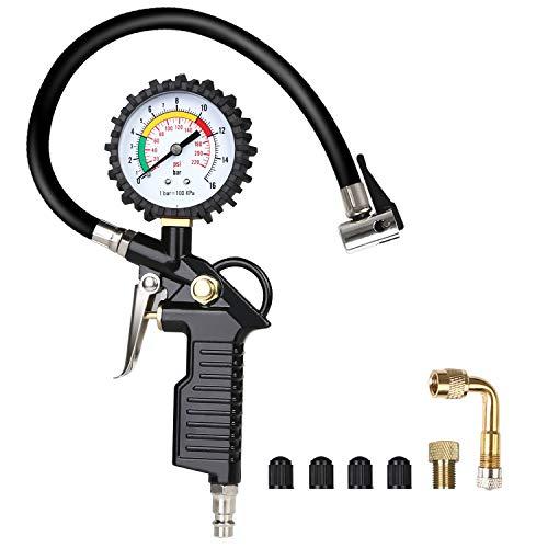 URAQT Manometro Digitale Pressione, Manometro Pressione Gomme Pneumatici Misuratore di pressione per pneumatici auto e moto, resistente, con mandrini dritti e ad angolo retto