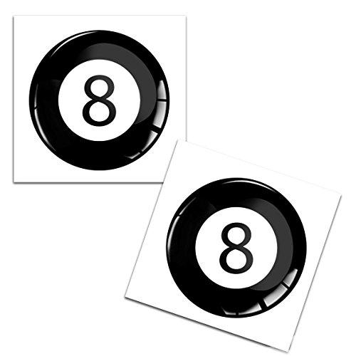 2 x Adesivi Resinati 3D Gel Stickers Divertente Sport Palla Da Biliardo Nùmero 8 Pool Per Auto Moto Finestrìno Porta Casco Scooter Skateboard Bici PC Laptop Tablet Tuning KS 40