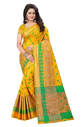 Ecolors Fab Women's Cotton Silk Saree, Large (EC!_500!_Series!_2017!_Sarees, Yellow)