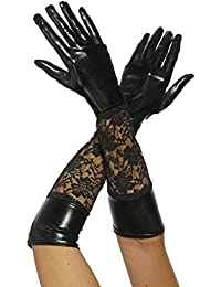 krautwear® Damen Lange Glänzende Wet Look Leder-Optik Handschuhe Abendhandschuhe ca. 53 cm lang
