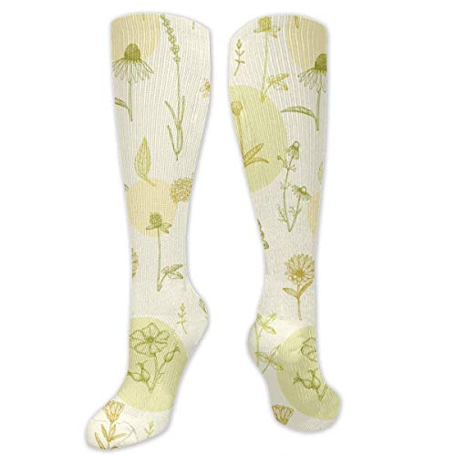 dfegyfr Medicine Plant Pattern High Socks Long Socks Boot Stocking Compression Sports Socks for Women Men -