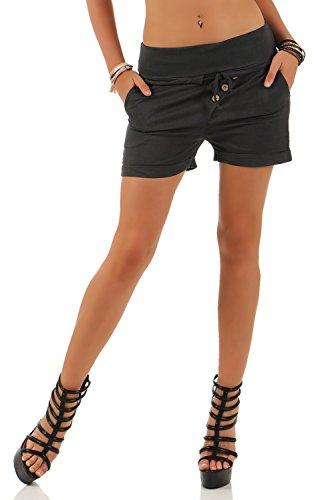 Damen Hotpants Shorts Kurze Hose Chino Bermuda Pants in angesagten Farben ( 554 ), Grösse:40, Farbe:Steingrau