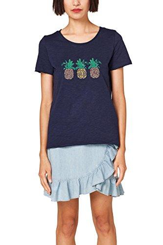 edc by ESPRIT Damen 058CC1K087 T-Shirt, Mehrfarbig (Navy 400), Large