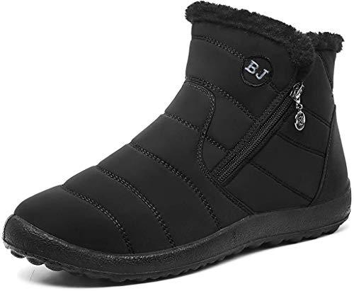 Cotouke Damen Winterstiefel Wasserdicht Warm gefütterte Schneestiefel Winterschuhe Winter Kurzschaft Stiefel Boots Schuhe Schwarz 39 EU = 40 CN