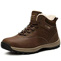ABTOP Mens Snow Boots Womens Winter Boots Warm Ankle Fully Fur Lined Anti-Slip Leather Boots Work Walking Hiking Outdoor Urban 4UK-11.5UK