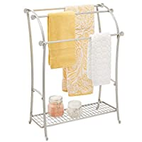 mDesign Free Standing Towel Rack - Large Towel Holder with Shelf for Bathroom Accessories - Metal Towel Rail with Multiple Hanging Bars