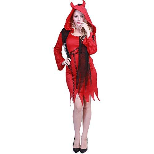 Hot Kostüm Teufel Sexy - wenyujh Halloween Kostüme Damen Sexy Teufel Kostüm Halloween Party Umfang mit Kapuzen Outfit Red Hot Sexy Verkleidung Fantasie Teufel Sexy Kleid Outfit Cosplay
