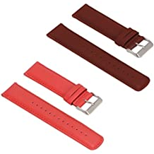 Turnwin for Fossil Q Nate Gen 2 Hybrid Straps Wristbands, 2pcs Replacement Leather Bands for Fossil Q Nate Gen 2 Hybrid Only (Red+Brown)