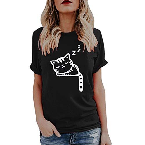 SEWORLD Oberteil Bluse Elegant Kleid Damen Mode Schicke Mädchen Tops Freizeit Brief Weste Kurzarm Lose Crop Tops Tank Tops Bluse Tops T-Shirt(Y-w1-schwarz,EU-36/CN-M)