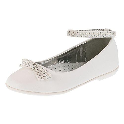 Giardino Doro Festliche Mädchen Ballerinas Schuhe mit Echt Leder Innensohle M414ws Weiß 36