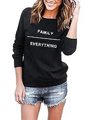 Culater® mujeres Imprimir letra de la manera suéter de cuello redondo de algodón de manga larga tapas ocasionales (M, Negro)