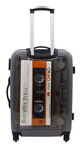 F|23, Hartschalen Trolley, Höhe: 60 cm, Mit Zahlenschloss, 4-Rollen-System, Tape, Voyage, Weiß/Grau, 77051-16 Weiß/Grau