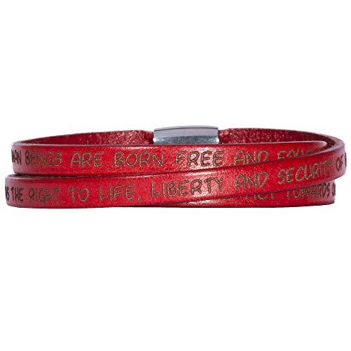 GILARDY GHR-BR1RD57 Human Rights Leder-Armband BR1 in der Farbe Red/Rot mit Gravur der Menschenrechte 57 cm - Medium