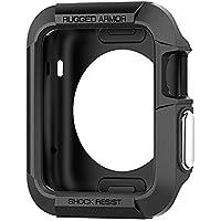 Apple Watch 3/2/1 Hülle, Spigen® [Rugged Armor] 42mm Silikon Schutzhülle für Apple Watch Series 1/2/3 [Schwarz] Elastisch Ultimativ Schutz vor Stürzen und Stößen - [Karbon Look] Schutzhülle für Apple Watch 1 (42mm)  Apple Watch 2 (42mm)  Apple Watch 3 (42mm) - White (SGP11496)