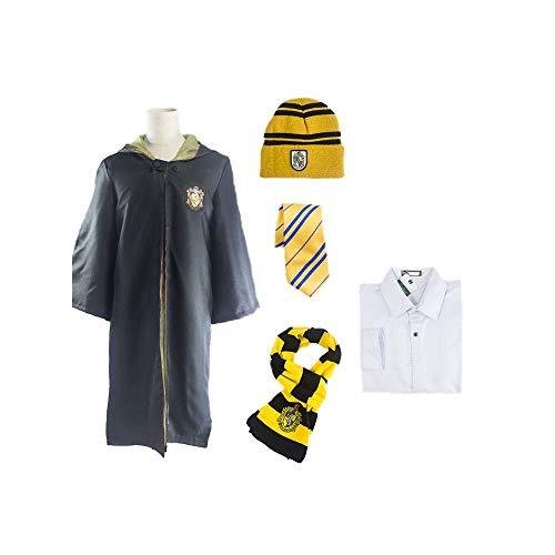 qingning Harry Poter Gryffindor Hufflepuff Slytherin Ravenclaw Umhang Komplett-Set Cosplay Robe Kostüm Anzug (Hufflepuff Satz(Kein Pullover), Small)