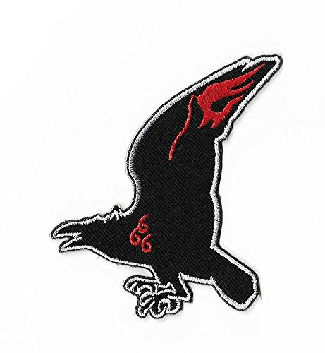 Der Omen Logo Patch (9cm) DIY Nähen oder Bügeln bestickt auf Badge Aufnäher Horror Film Poster Crow 666Damien Souvenir Kostüm Retro