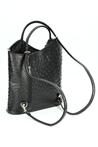 Belli Italiano Borsa in pelle belli Back Pack 2in1–Zaino da donna in pelle a mano e da spalla–libero colore a scelta–28x 28x 8cm (B x H x T) Black