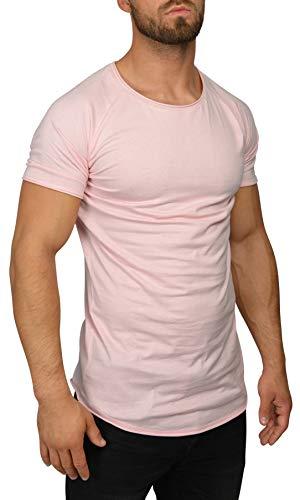 QULAXITY XVI Herren T-Shirt Oversize Rollsaum (S, Rosa) -