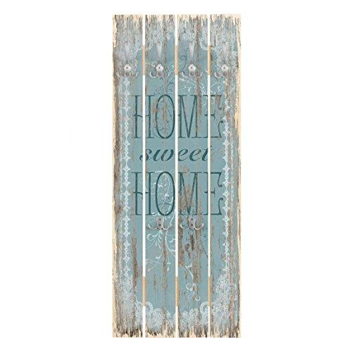 Bilderwelten Wandgarderobe Holz - Sweet Home - Haken Chrom - Hoch, 100cm x 40cm