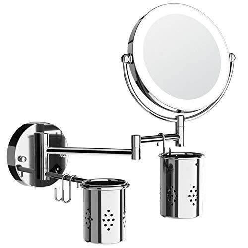 Kosmetikspiegel mit Beleuchtung,7-facher Vergrößerung Schminkspiegel Wandmontage mit LED, Doppelseitig Rostfrei Rasierspiegel Wandmontage für Badezimmer, 360° Schwenkbar Makeup Wandspiegel