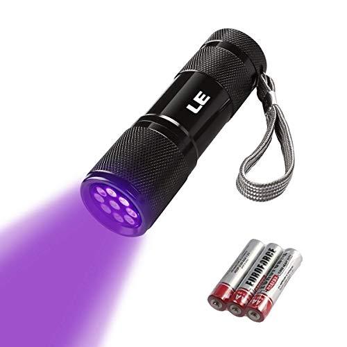 LE Torcia UV Portatile in Metallo Lampada Ultravioletti 9 LED 395nm, Torcia Blacklight Impermeabile Animali Urina Cane/Gatto Smacchiatore Rivelatore UV, 3 Batterie AAA Inclus