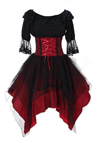 JL-640-2 rot schwarz Rock asymetrisch & Bluse Tüll Spitze Kleid Victorian Rococo Stretch Gothic Lolita Kostüm Cosplay Kawaii-Story , Schwarz ,  Herstellergrösse S (Stretch S-M)