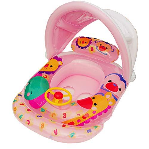 Precioul Baby Schwimmring Baby Schwimmhilfe Baby Pool Schwimmring mit Sonnenschutz - Aufblasbarer Schwimmreifen für Kinder (Pink)