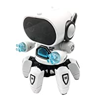 Electronic remote control robot toy Smart Music Dancing Robot Toy, Electric Six Claw Robot with Hot Songs and Cool LED Eyes, Intelligent Dancing Robot for Children, Disco & Cheering Robot for Kids Chi