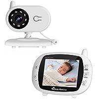 """Cozime Vigilabebés Inalámbrico, Bebé Monitor Inteligente Pantalla LCD 3.5"""", Cámara Vigilancia Bebes Visión Nocturna, Intercomunicador Bidireccional, Monitor de Temperatura, Canciones de Cuna"""