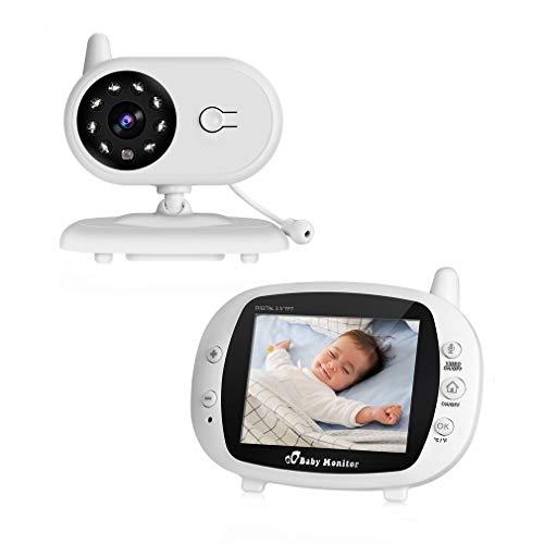 Cozime Babyphone Caméra Vidéo sans Fil, Bébé Moniteur 3.5' LCD Couleur, Caméra Vidéo Bébé Surveillance 2.4 GHz Bidirectionnelle, Vision Nocturne, VOX et Mouvement Alarme, Berceuses, Vision Nocturne