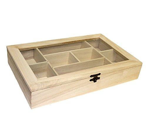 EM Home-Caja de madera con 8 compartimentos y tapa de cristal