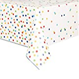 Rainbow Polka dot - Happy Birthday -  Nappe en plastique - 7 ft x 4.5 ft - Lot de 1