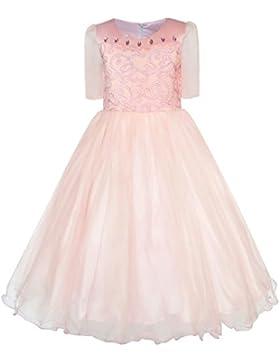 Sunny Fashion Vestido para niña Mariposa Bordado rojo Comprobar Colegio Uniforme 3-8 años