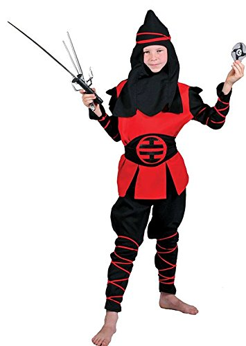 Seiler24 Rotes Ninja Kostüm für Kinder Größe - Dschungel Ninja Kostüm