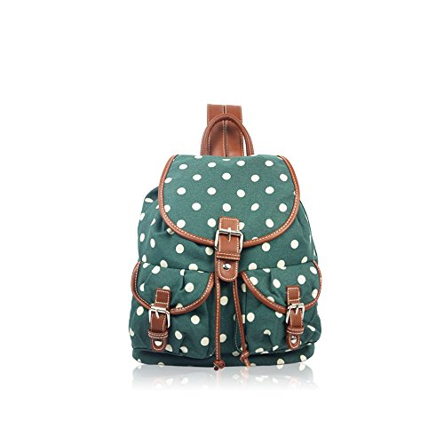 YourDezire , Zaino  unisex adulti Green/Polka Dot