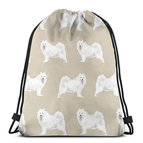Samoyed Sled Dog Design Khaki Dogs Samoyeds Dog Design Sled Dogs Sammy Dog_2087 Custom Drawstring Shoulder Bags Gym Bag Travel Backpack Lightweight Gym for Man Women 16.9