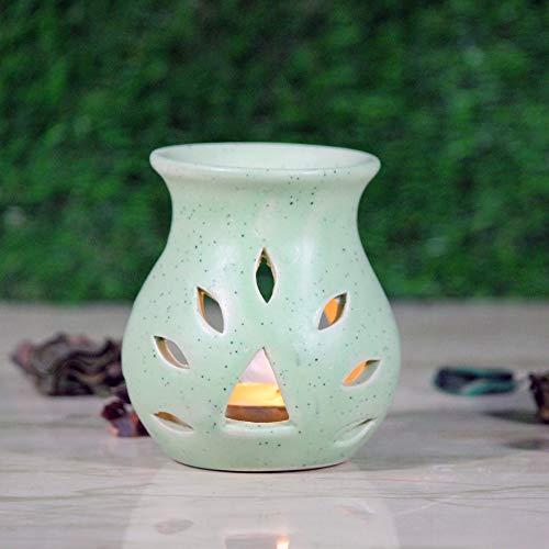 Karguzzari Aroma-Diffusor aus Keramik, Öl-Wärmer; Diffusor für ätherische Öle, Diffusor, Aromatherapie-Diffusor, Öllampe, Ölbrenner grün -