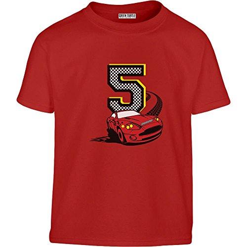 Geschenk zum 5. Geburtstag Jungs Auto Kleinkind Kinder T-Shirt - Gr. 86-128 110 (4-5J) Rot (Geburtstag-kleinkind-t-shirt 5.)