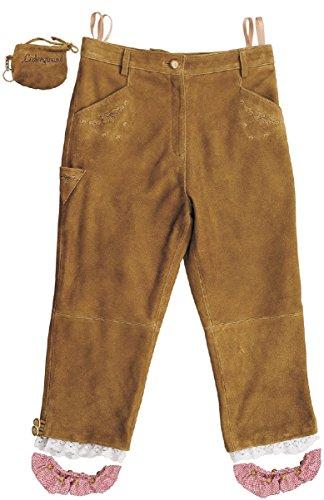 7 8 Lederhose Damen- Kniebundhose Leder Damen Wildbock - Trachtenlederhose Damen Kniebundlederhose -Trachten Lederhose- Trachtenhose Knielang aus echt Leder Beige Beigeolive